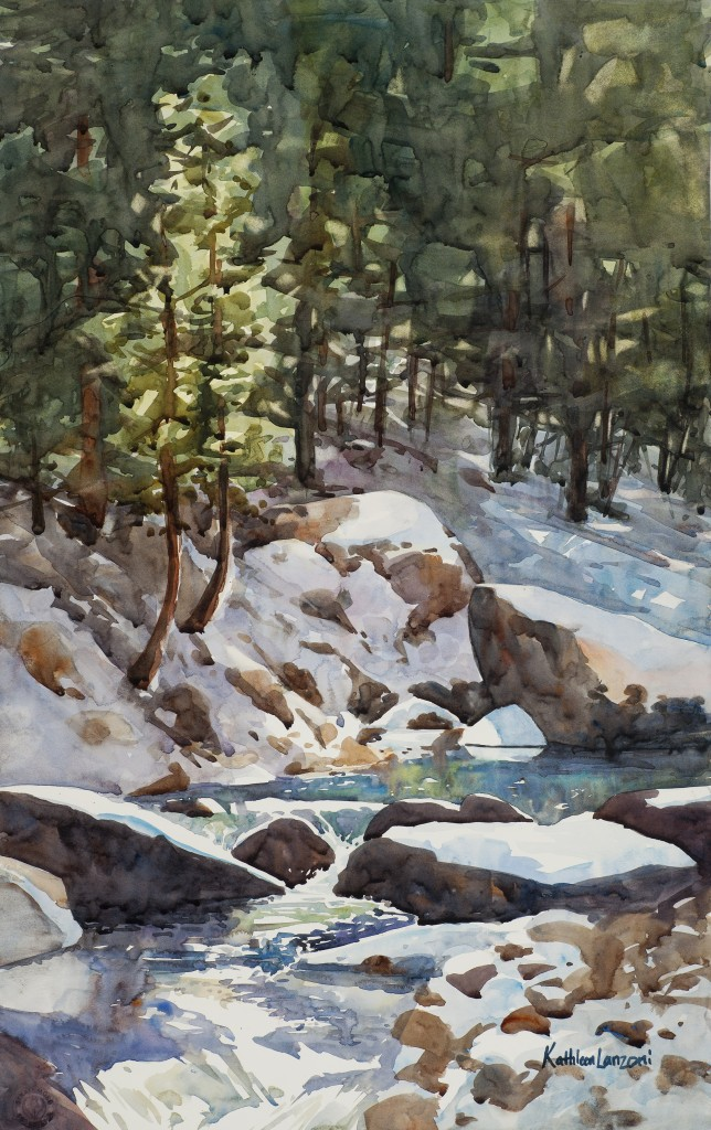 Winter stream with snow, Estes Park, Colorado