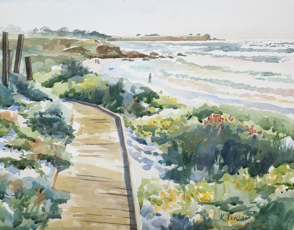 "Asilomar Beach 13"" X 10"" original watercolor - giclee available"