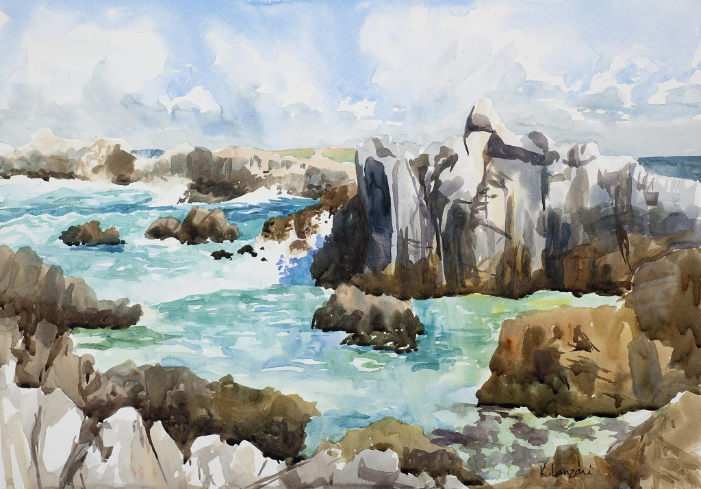 "Asilomar Cliffs 13"" X 10"" original watercolor - giclee available"