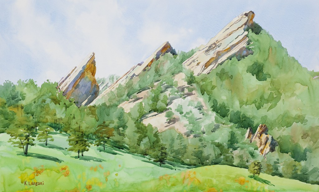 "Flatirons 13.5"" X 10.5"" original watercolor - giclee available"