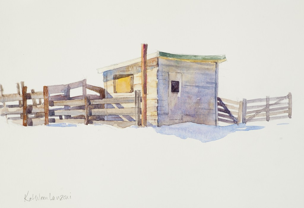 "Horse Corral 10"" X 8"" original watercolor"