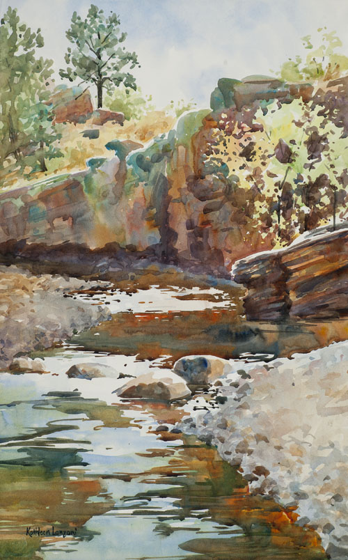 plein air- landscape river bend