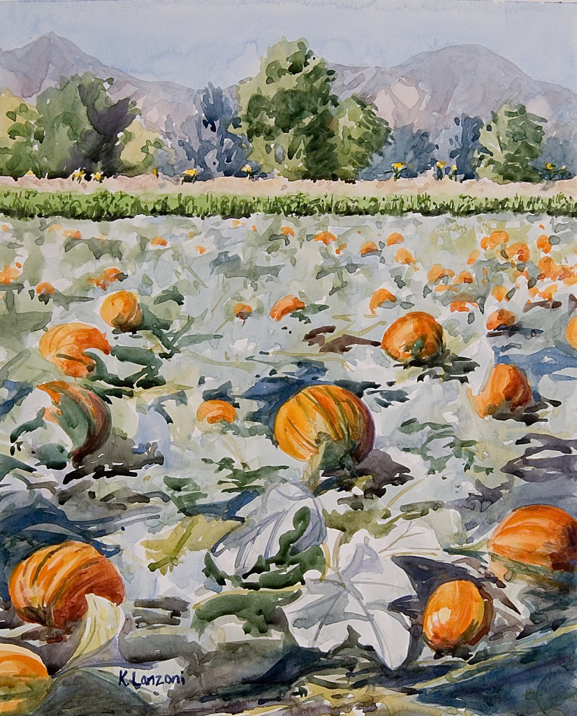"Pumpkin Patch 12.5"" X 10"" watercolor - giclee available"