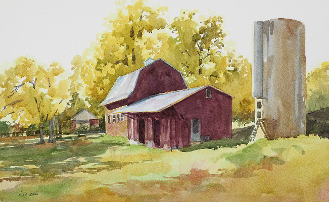 "Red Barn 22"" X 13.5 original watercolor - giclee available"