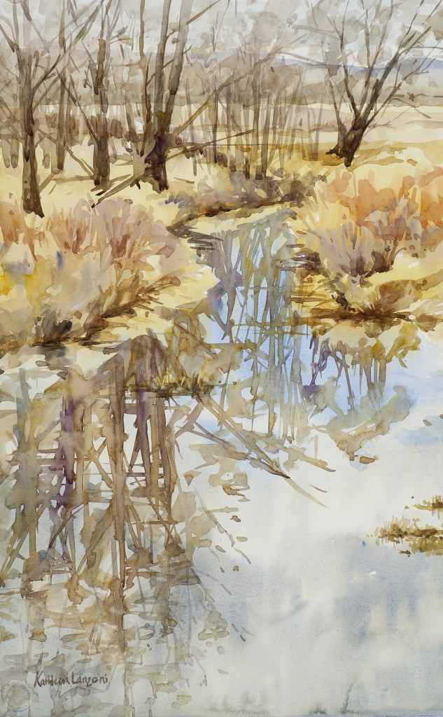 "Reflecting on February 14"" x 22"" original watercolor - giclee available"