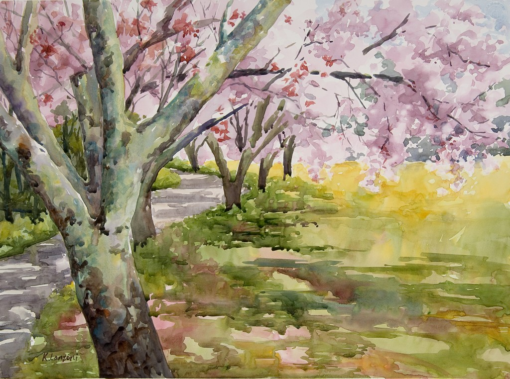 "Step into Spring 19"" X 14"" original watercolor - giclee available"