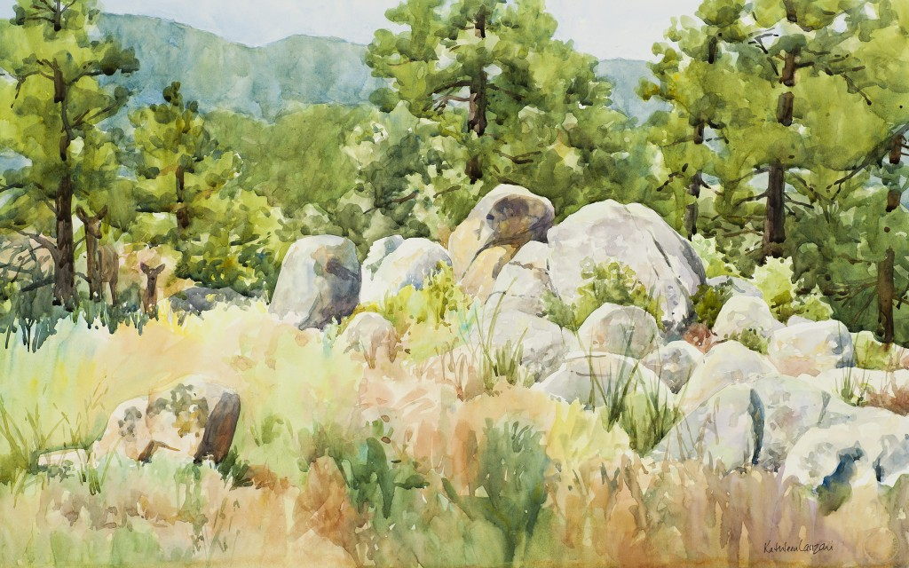 """The Surprise Visitors 22"""" X 14"""" original watercolor - giclee available"""