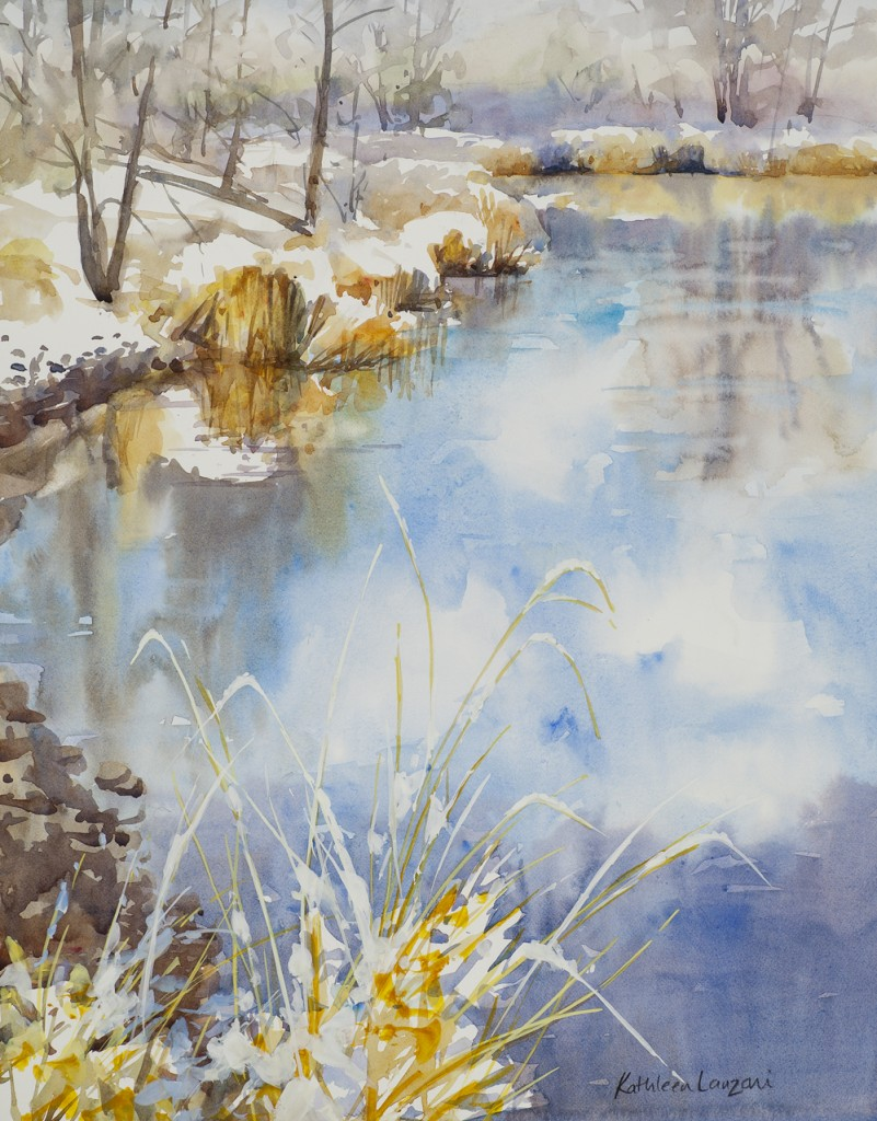 "Reflecting on February 14 "" x 22"" original watercolor - giclee available"