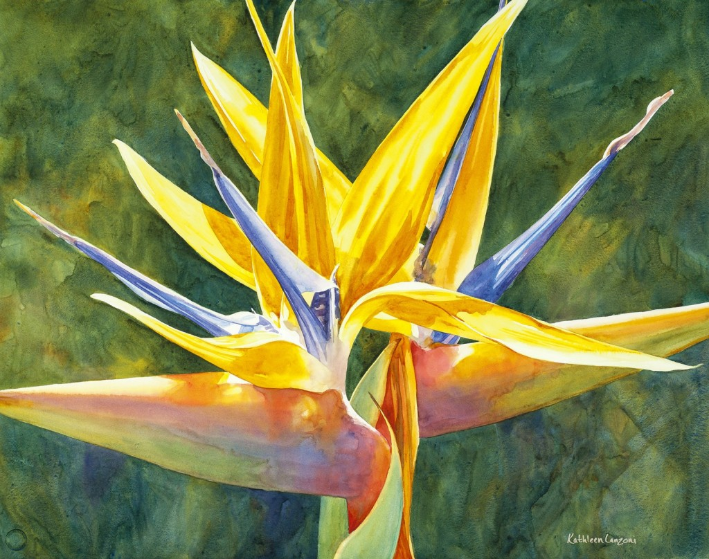 "Bird of Paradise I 29"" x 23"" original watercolor - giclee available"
