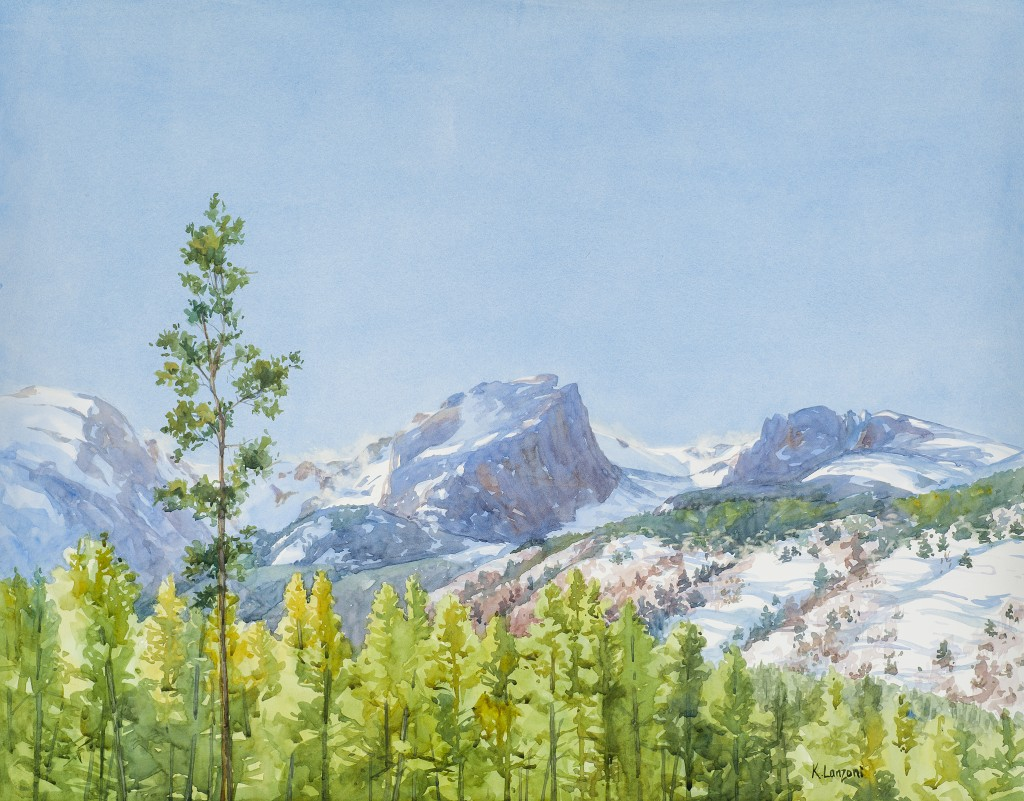 "Kathleen Lanzoni fine watercolor artist, Colorado Mountain Range 28"" x 18"" original watercolor - giclee available"