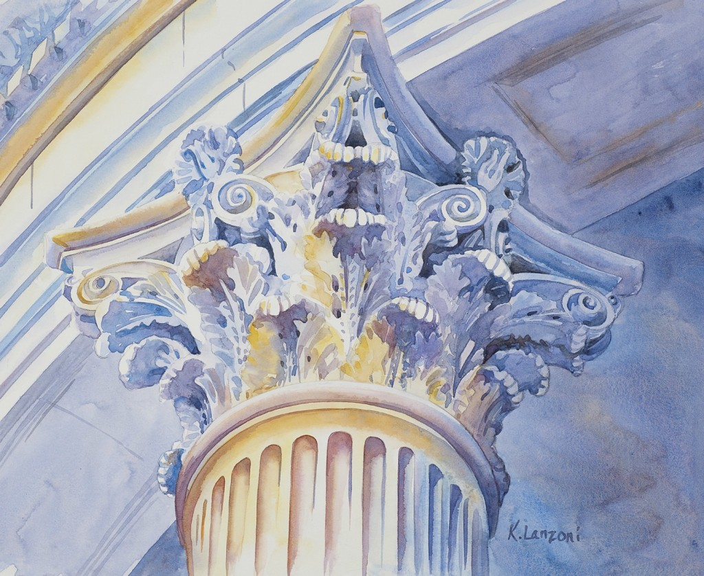 "Corinthian Column 11""x 9"" original watercolor - giclee available"