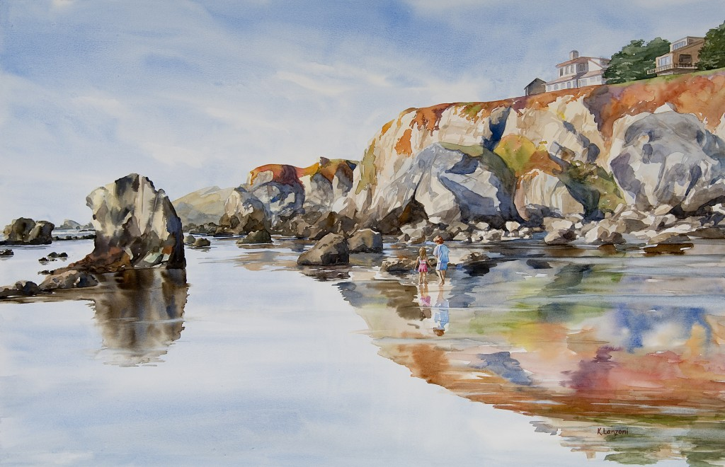 "Kathleen Lanzoni fine watercolor artist, California Coast 27"" x 18"" original watercolor - giclee available"