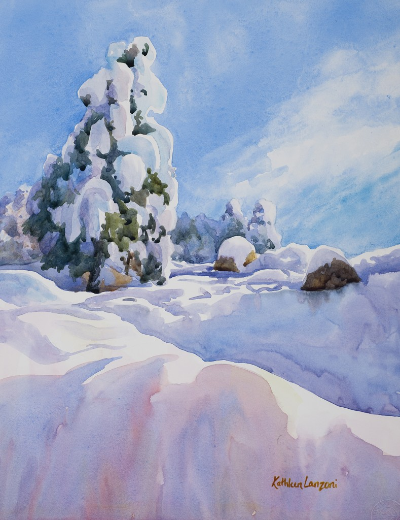 "Fresh Snow 10"" X 13"" original watercolor - giclee available"
