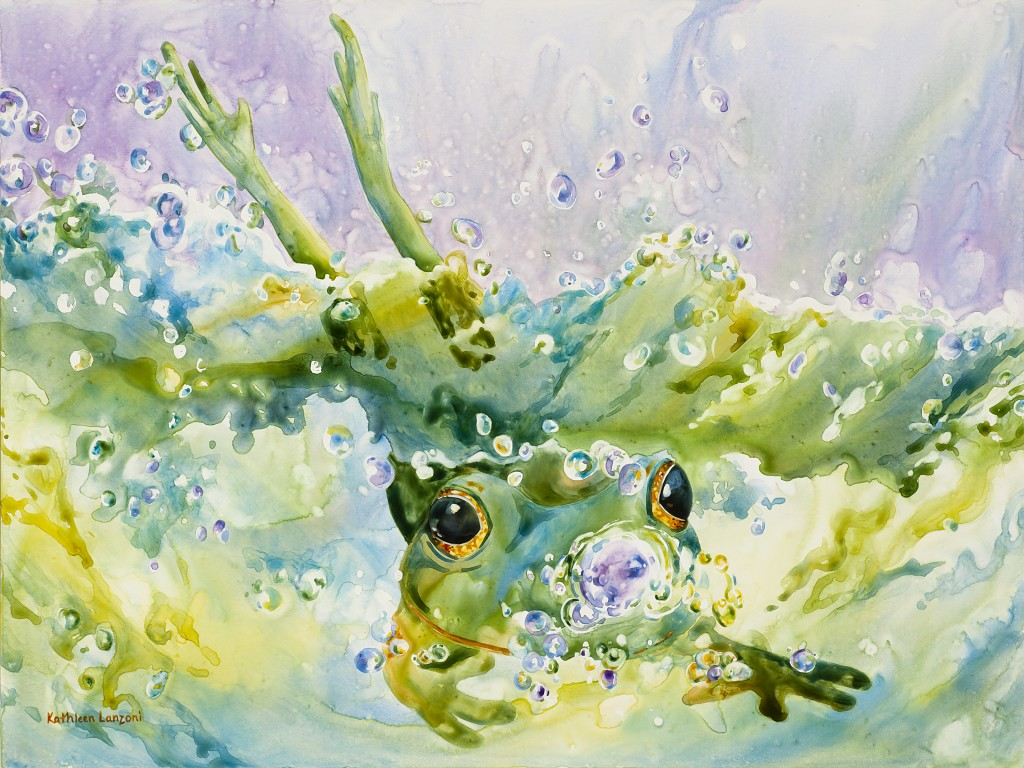 "Frog Splash 20"" x 16"" watercolor - giclee available"
