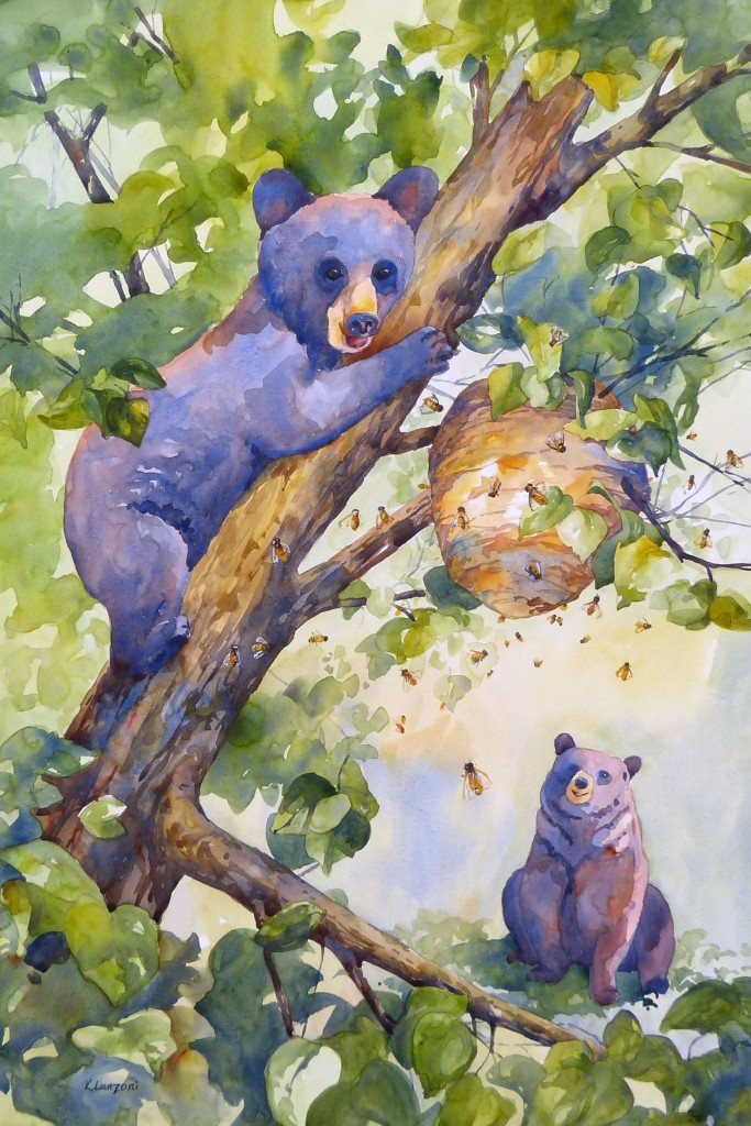 "Honey Bears 20"" x 30"" watercolor - giclee available"