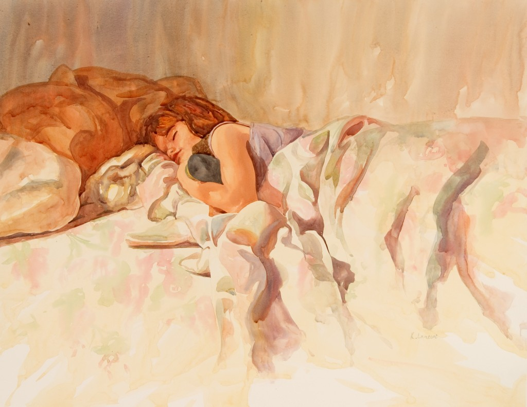 "Sleeping Angel 26"" x 21"" original watercolor - giclee available"