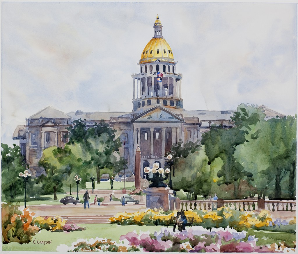"State Capitol 18.5"" X 16"" watercolor - giclee available"