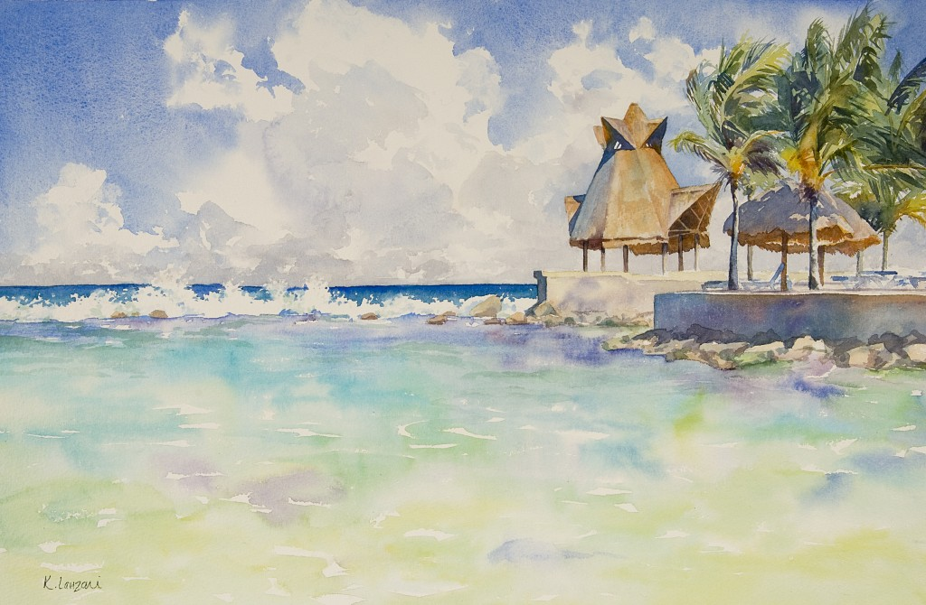 "Kathleen Lanzoni fine watercolor artist, Warm Breeze 20"" x 14"" original watercolor"