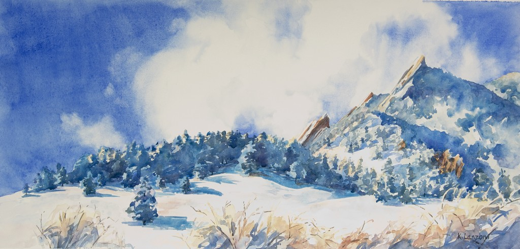 "Kathleen Lanzoni fine watercolor artist, Winter Flatirons 21"" x 9"" original watercolor - giclee available"