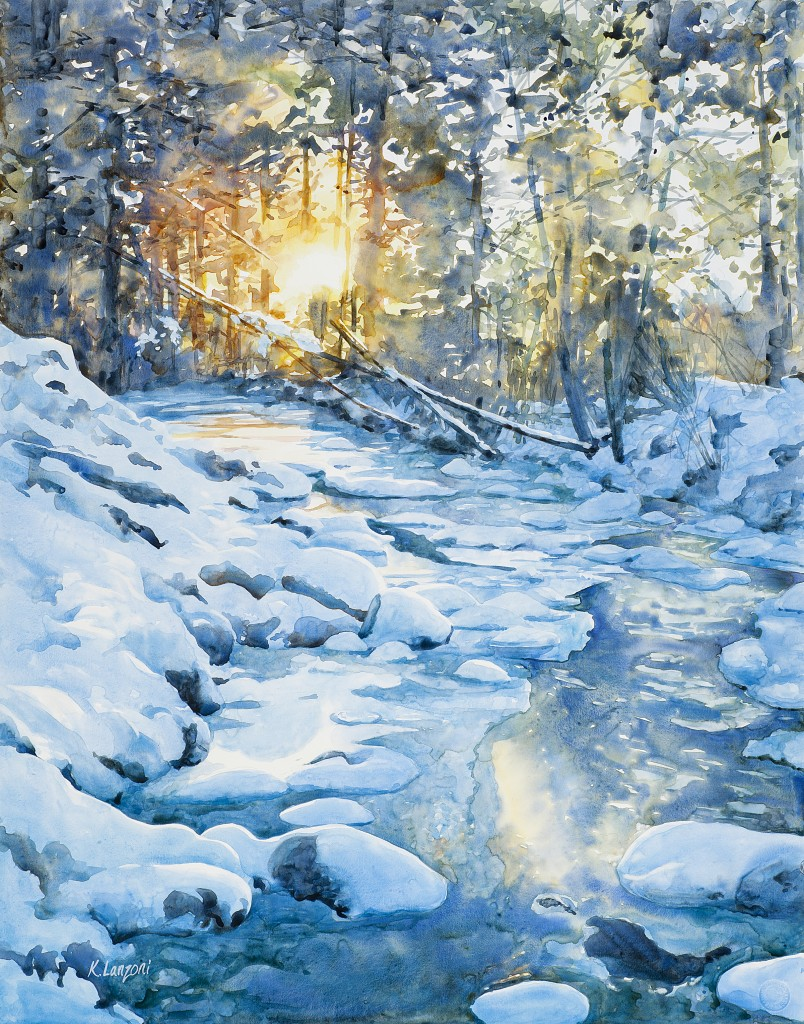 "Kathleen Lanzoni fine watercolor artist, Winterly Light 23"" x 29"" watercolor - giclee available"