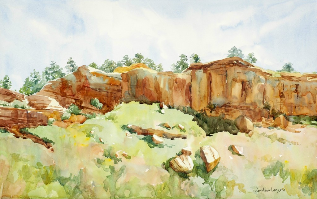 """Sun Kissed Bluffs 22"""" X 14"""" original watercolor - giclee available"""