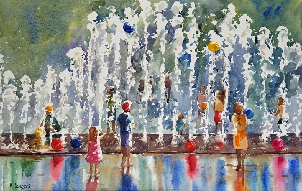 Happy children playing in water fountain