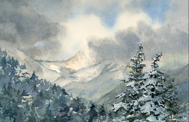 """Kathleen Lanzoni fine watercolor artist, Clearing - Independence Pass 17"""" x 11"""" watercolor - giclee available"""