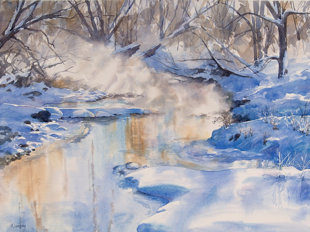 """Kathleen Lanzoni fine watercolor artist, Breath of Winter 29"""" x 21.5"""" watercolor - giclee available"""
