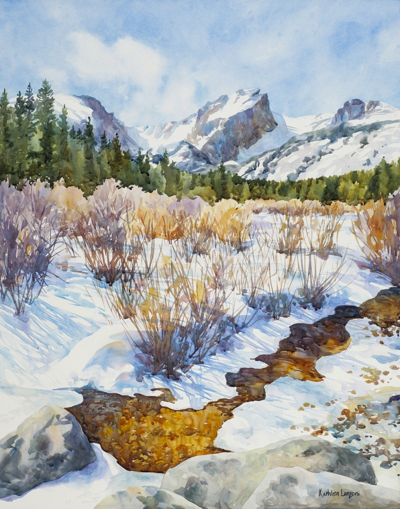 """Kathleen Lanzoni fine watercolor artist, Brilliance 23 """" x 29"""" original watercolor - giclee available"""