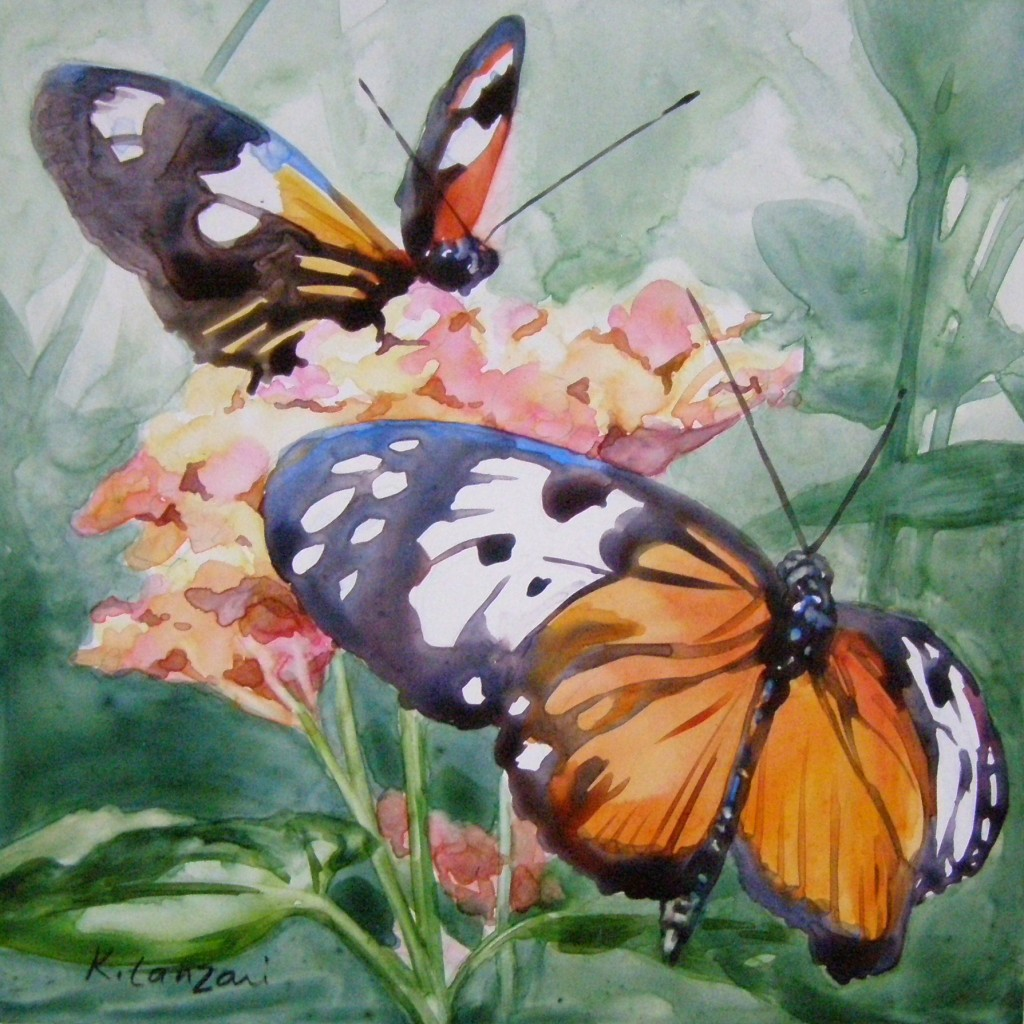 "Butterflies 6"" x 6"" original watercolor"