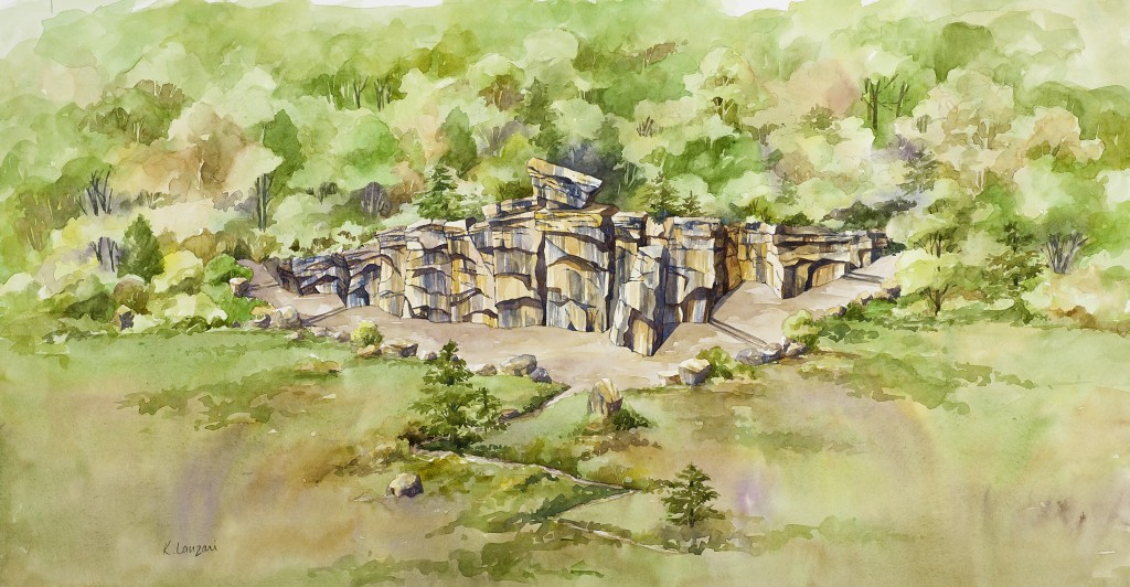 Kathleen Lanzoni fine watercolor artist, Rock Climbing Wall a commissioned piece