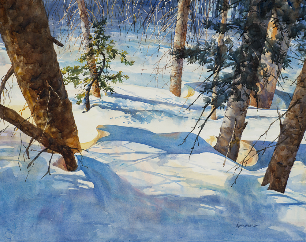 """Kathleen Lanzoni fine watercolor artist, Dancing in the Trees 29 """"x 23"""" original watercolor - giclee available"""