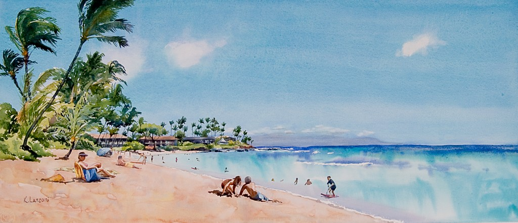 """Kathleen Lanzoni fine watercolor artist, Day in Paradise 27.5"""" x 11.5"""" watercolor - giclee available"""
