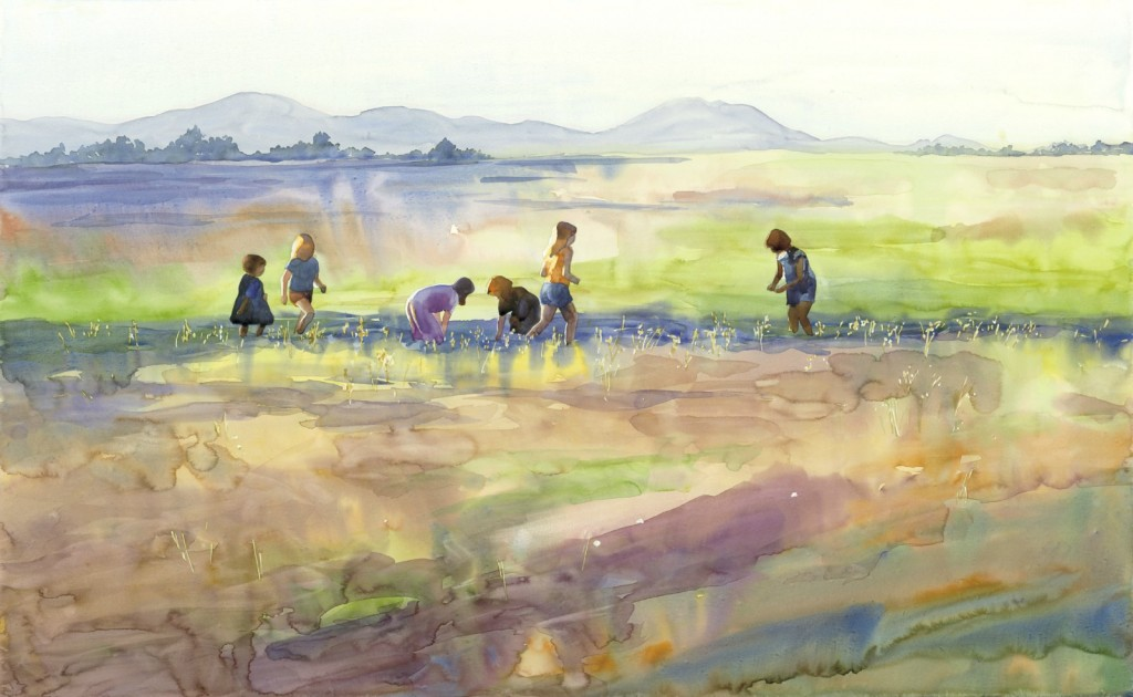 """Discoveries in a Field 33"""" x 21"""" watercolor - giclee available"""