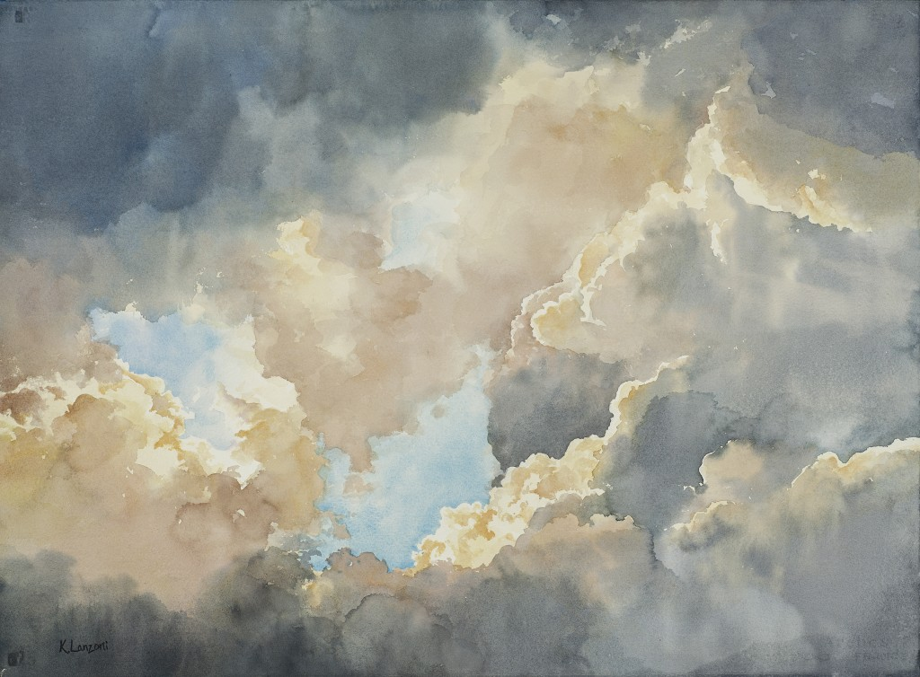 """Kathleen Lanzoni fine watercolor artist, Ethereal 30"""" X 22"""" original watercolor - giclee available"""