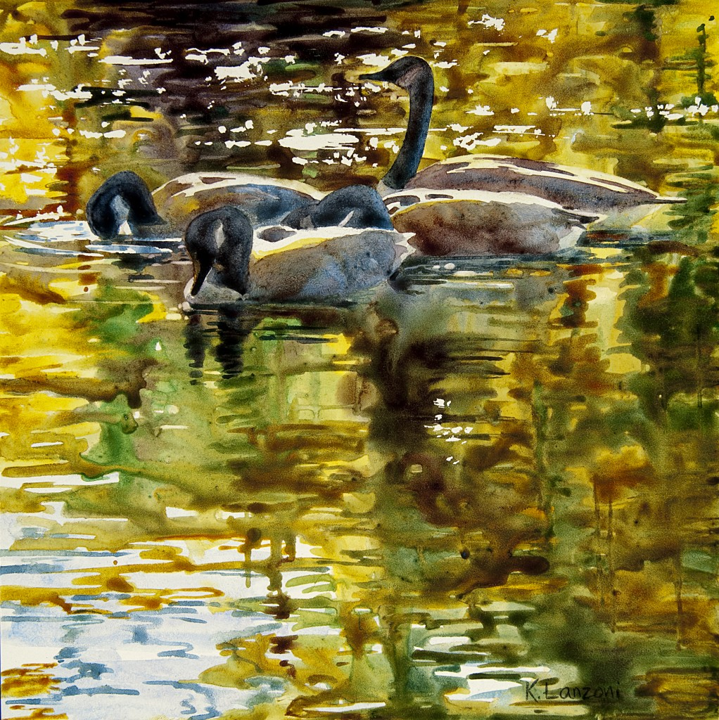 "Fall Swimmers 8"" x 8"" watercolor"