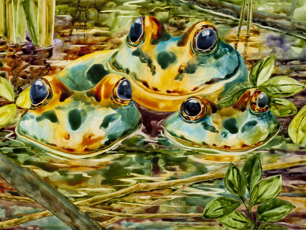 "Frog Friends 20"" x 16"" watercolor - giclee available"