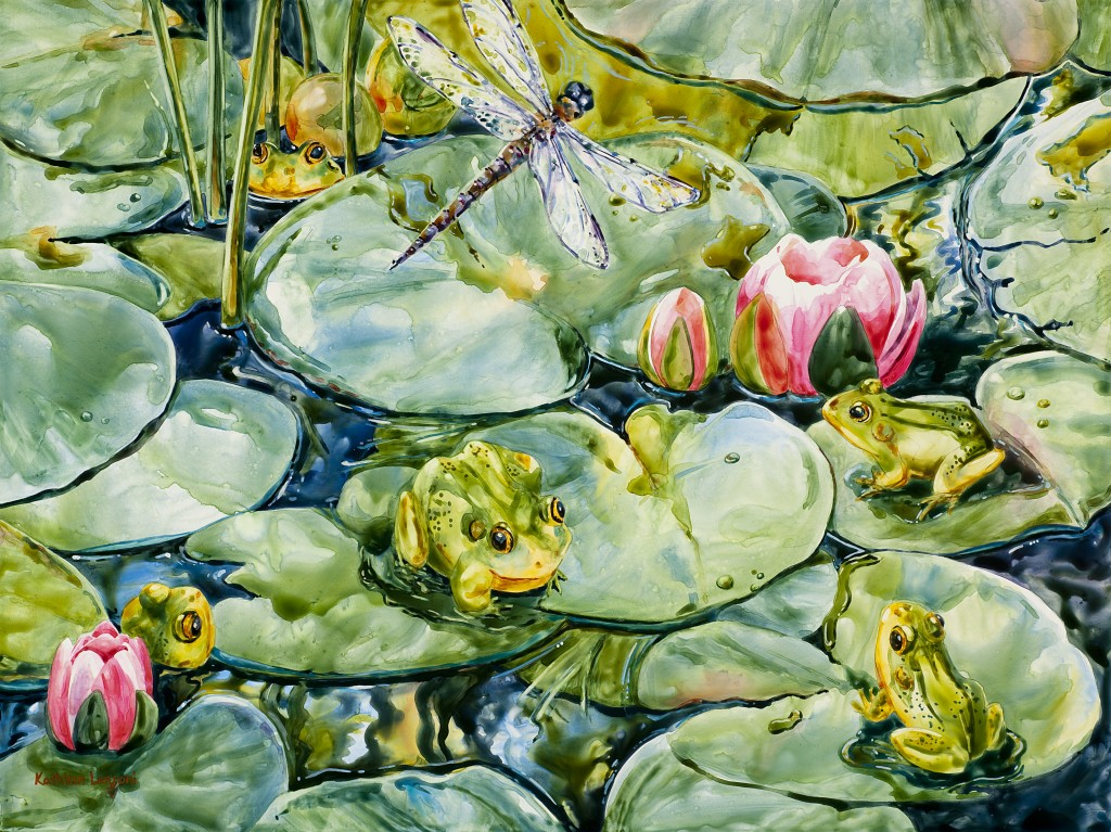 "Frog Lilypads 20"" X 16"" watercolor - giclee available"