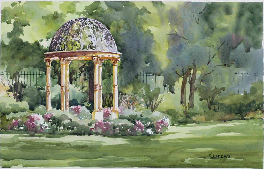 """Governor's Gazebo 18.5"""" x 12.5"""" watercolor - giclee available"""