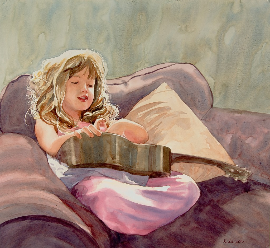 """Melodious Dream 18.5"""" x 17"""" original watercolor - giclee available"""