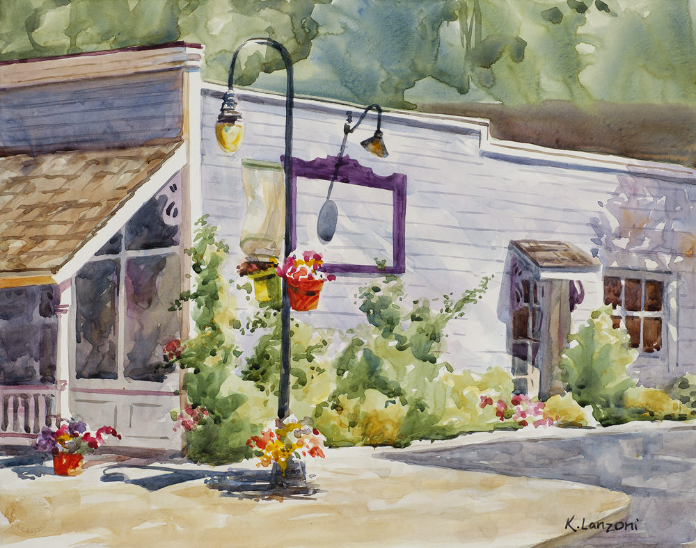 """On the Corner 14"""" x 11"""" original watercolor - giclee available"""