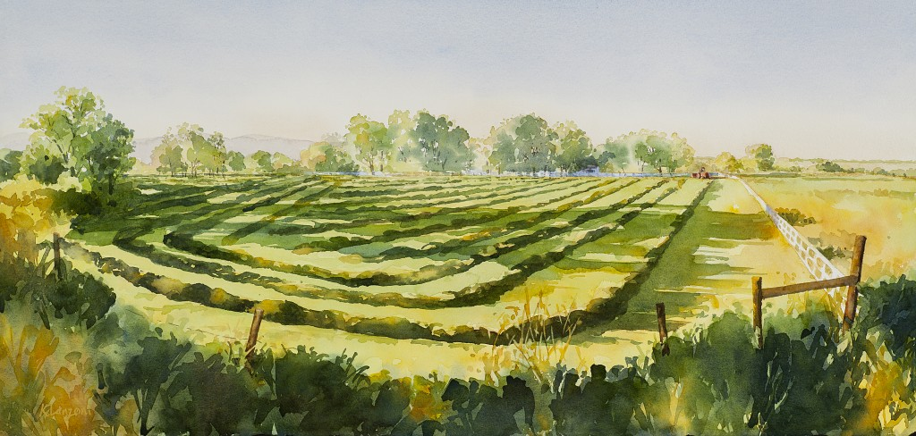 """Kathleen Lanzoni fine watercolor artist, Pastoral Afternoon 30"""" x 13"""" original watercolor - giclee available"""