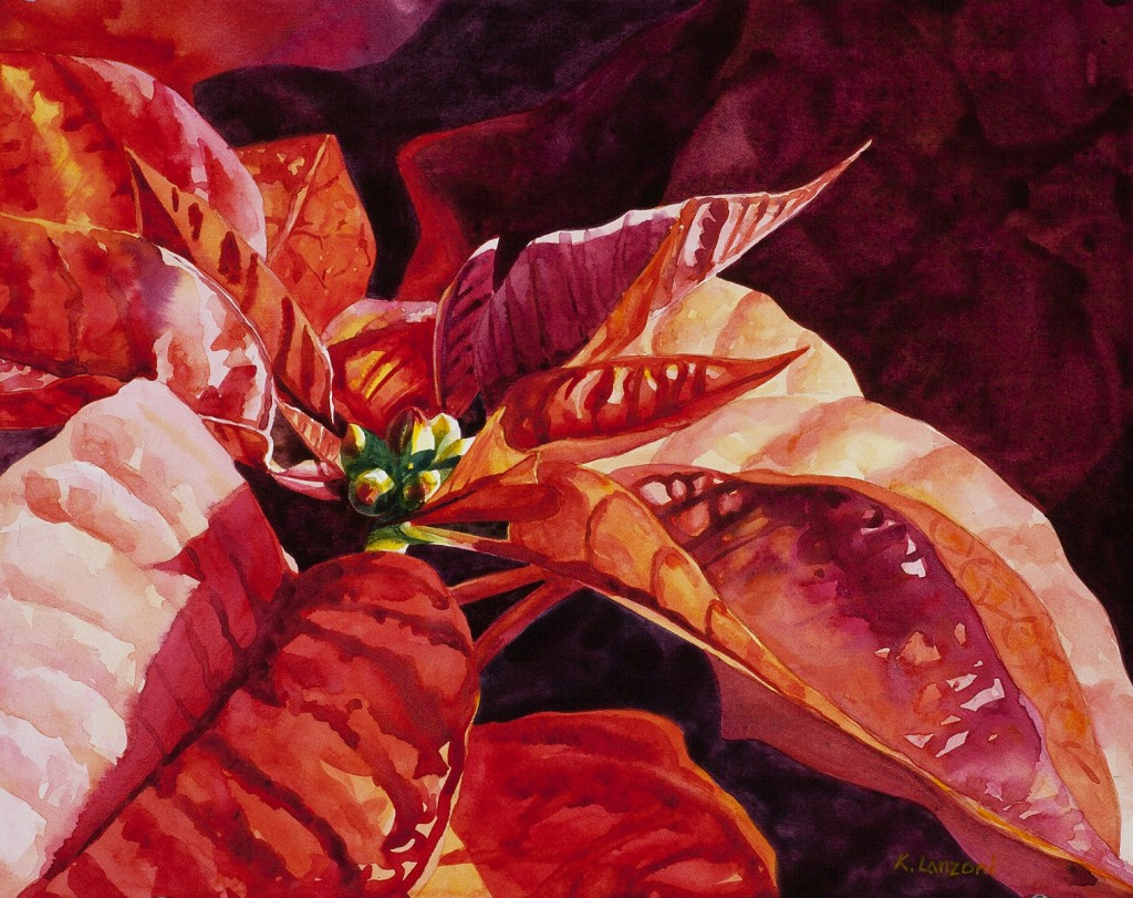 """Poinsettia Star 14"""" x 11"""" original watercolor - giclee available"""
