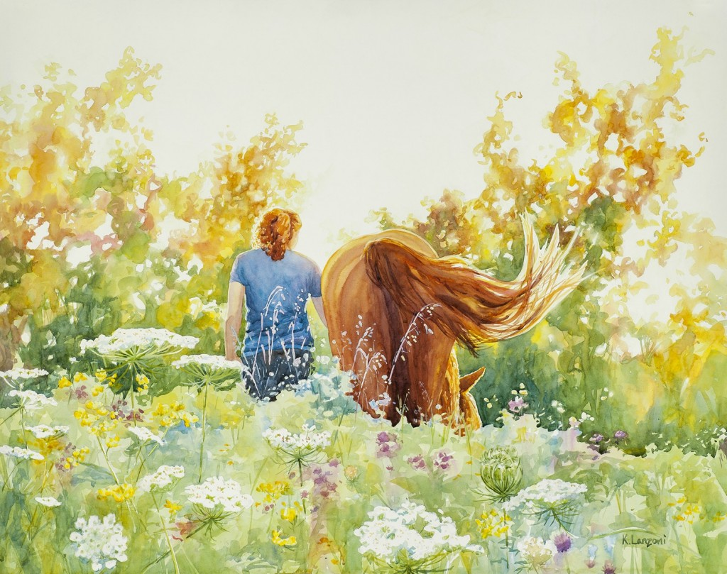 """Ponytails 29"""" x 23"""" original watercolor - giclee available"""