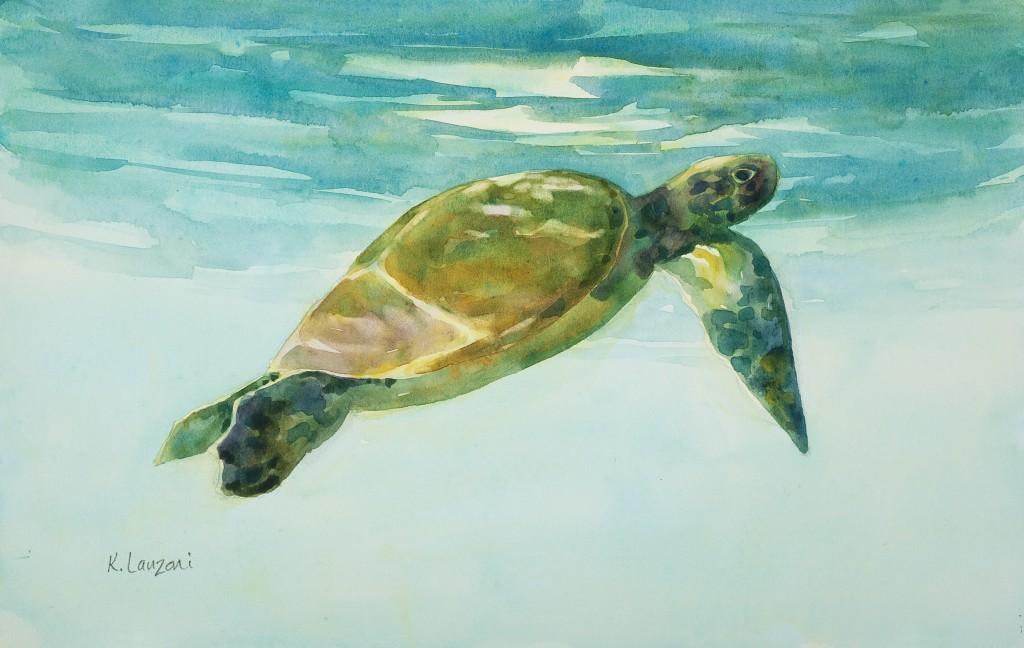 "Sea Turtle 10"" x 7"" watercolor - giclee available"