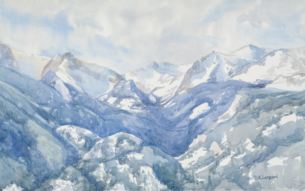 """Kathleen Lanzoni fine watercolor artist, Snow Covered Peaks 22"""" X 14"""" original watercolor - giclee available"""