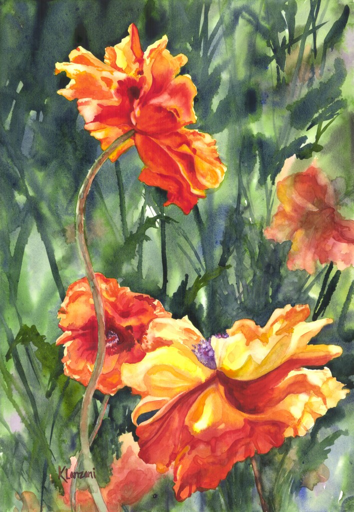 """Spring Poppies 10"""" x 13"""" watercolor"""