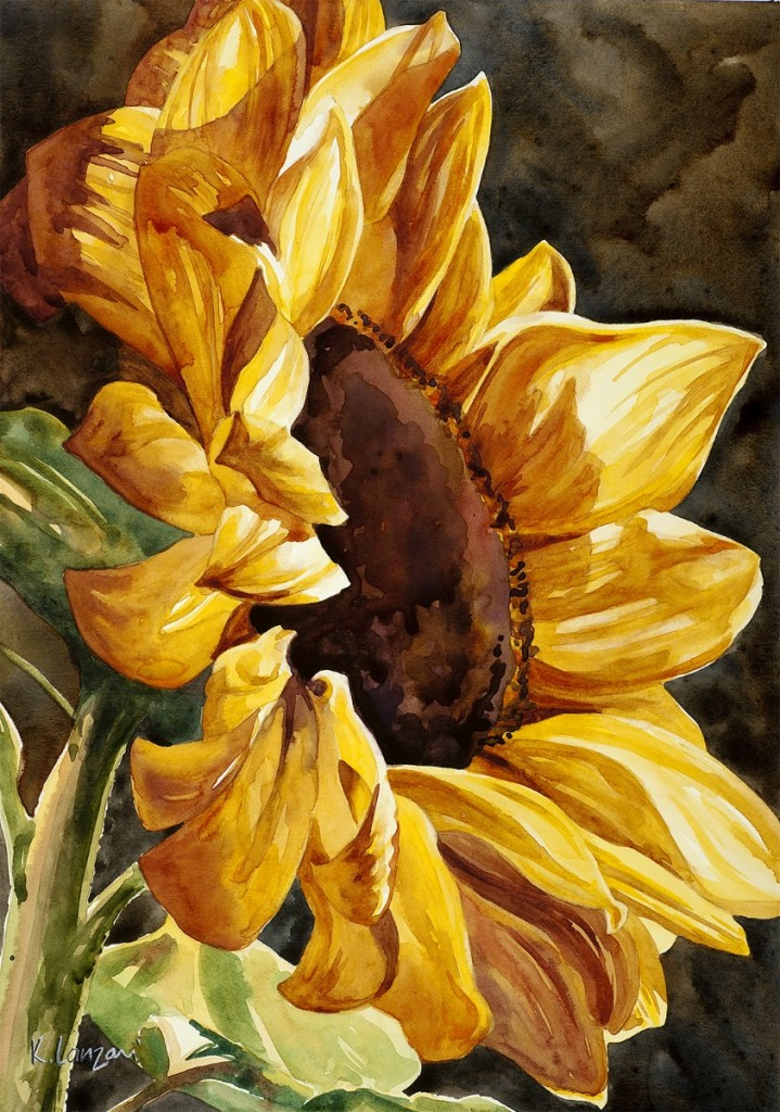 """Sunflower 11"""" x 14"""" original watercolor - giclee available"""