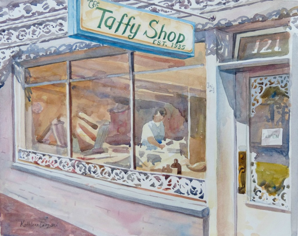 """Taffy Shop 14"""" X 11"""" original watercolor - giclee available"""