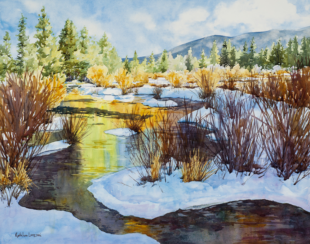 """Kathleen Lanzoni fine watercolor artist, Touched by Sunlight 29"""" x 23"""" original watercolor - giclee available"""